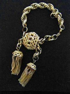Vintage Signed Schiaparelli Gold Tassle Bracelet