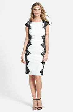 Adrianna Papell Lace Appliqué Crepe Sheath available at #Nordstrom