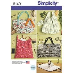 Simplicity Pattern 8149 Totes and Dog Travel Bed.With this great accessory pattern, you'll find a bag for all your shopping and travel needs. Pattern included for travel dog bed for the dog on the go. Bag Patterns To Sew, Tote Pattern, Simplicity Sewing Patterns, Clothes Patterns, Sweatshirt Outfit, Dog Travel, Travel Tote, Patron Simplicity, Fabric Bags
