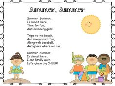 Grade Pig Pen: Take It and Make It Thursday and Free Summer Poem! Simple Poems For Kids, Short Poems For Kids, English Poems For Kids, Poetry For Kids, Kids Poems, Preschool Poems, Rhyming Poems, Preschool Schedule, Preschool Activities