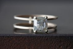 Natural Rose Cut Silver-Clear Cushion Diamond Ring- double band :: Alexis Russell Jewelry