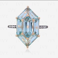 Sky blue, pink gold and white diamonds ...