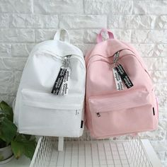 Tips: *Please double check above size and Students canvas backpack Cute Backpacks For School, Cute Mini Backpacks, Stylish Backpacks, Girl Backpacks, Canvas Backpacks, Leather Backpacks, Leather Bags, Mini Mochila, Bags For Teens