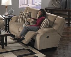 CatNapper Hammond Power Reclining Console Loveseat with Storage and Cupholders - Coffee