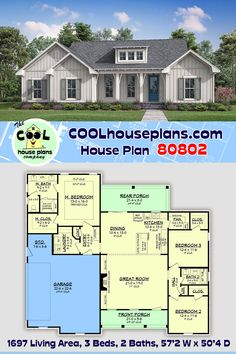 This charming modern farmhouse floor plan provides for everything you need & nothing you don't. With a large Great Room open to the Dining and a Kitchen that's equipped with an eat at bar and walk-in pantry. There is also lots of storage for a house this size with large closets in all bedrooms. Additionally, a kitchen pantry, informal dining space, split bedroom layout and ample covered porches make this plan a great design under 1700 square feet. The basement option allows for additional… Farmhouse Floor Plans, Modern Farmhouse, Farmhouse Style, Porch Storage, Floor Layout, New House Plans, Home Additions, New Home Designs, House Layouts