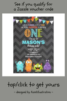 Shop Little Monster Birthday Party Invitation Chalk created by Anietillustration. Little Monster Birthday, Monster Birthday Parties, Monster Party, 1st Boy Birthday, First Birthday Parties, First Birthdays, Monster Invitations, First Birthday Invitations, Little Cakes