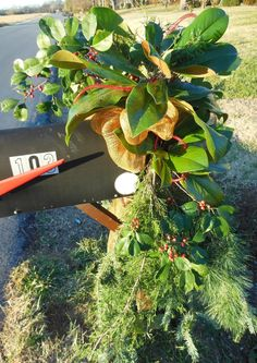 Christmas Mailbox Decoration - bunches of Evergreens, Magnolia, and Holly Berries dressed up with Gold Deco Mesh and Red Cording.