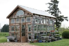 recycled windows greenhouse... this one is big, but u can make them yourself at any size.