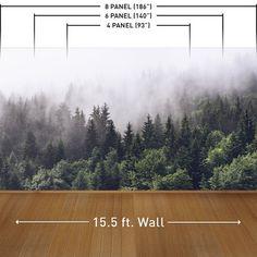 Misty Forest Wall Mural   Wayfair