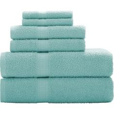 Bath Towels :: Colors = Teal (not bright, muted), tan/light brown or grey. Sizes = Body and hand. Don't prefer the microfiber kind :/ Mainstays Basic 6-Piece Towel Set - Walmart.com