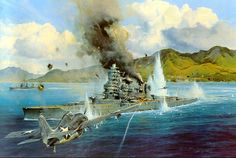 """""""Attack on the Hiei"""" by Robert Taylor    As dawn broke on the morning of Friday, November 13, 1942, a lone F4F Wildcat climbed out of Henderson Field on the island of Guadalcanal. The Marine pilot, Captain Joe Foss was to assess damage to US naval ships following the previous night's bitter naval engagement. As the morning sun streaked across the sound between Savo and Guadalcanal, Foss viewed the wreckage of one of the most furious close combat naval actions of the war."""