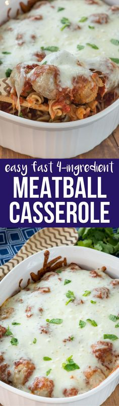 Just 4 ingredients in this EASY Meatball Casserole recipe! It's on the table in under 30 minutes and is the perfect weeknight meal! via @crazyforcrust