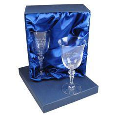 Engraved Jasmine Wine Glasses Set in Gift Box