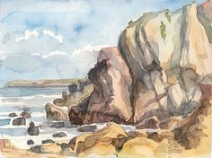 catalina: Rocks & Cliffs - Atlantic Summer Seaside watercolor, outdoors painting.
