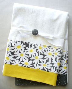 Kitchen towels with gray and yellow daisy floral pattern cotton fabric accent - set of two flour sack towels