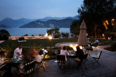 The terrace in the evening with breathtaking #lake and #mountain view