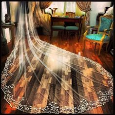 Hand Embroidered Long Veil