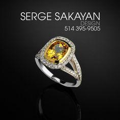 3 2/5 Carat tgw Cushion Cut Yellow Sapphire by SergeSakayanDesign