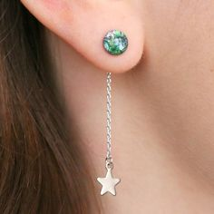 Earth And Stars Drop Earrings - gifts for teenage girls Cute Jewelry, Jewelry Crafts, Silver Jewelry, Women Jewelry, Jewelry Box, Nickel Free Earrings, Silver Drop Earrings, Earrings Handmade, Handmade Jewelry