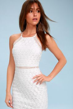 Lulus Exclusive! Shine like a supernova with the Come On Nova White Crochet Lace Dress! The classic sheath dress gets a modern makeover with an overlay of star-shaped crochet lace and a high-necked bodice, supported by adjustable, skinny straps. Figure-flaunting skirt falls to a flirty mini length.