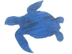Wooden Rustic Dark Blue Sea Turtle Wall Mounted Decoration 25""