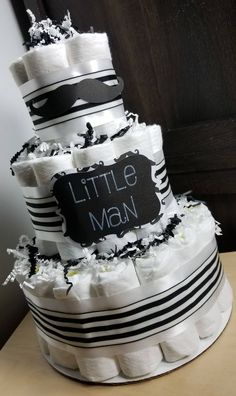 3 Tier Diaper Cake - Little Man Mustache Black and White Diaper Cake Baby Shower Centerpiece by LittleHomeMades on Etsy #baby #babyshower #art #style #babies #theme #mustache #littleman   #expecting #etsy #ebay #SALE #newyears #diapercake #party #newarrival #handmade #diy