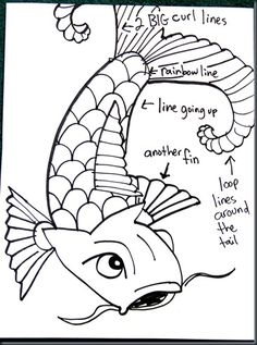 How to draw koi (carp) elementary art lesson. The koi are outlined with markers and plain water is used to create a watercolor effect