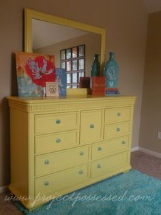 same color as the kids table Hawthorne Yellow Teenage Girl Bedrooms, Big Girl Rooms, Girls Bedroom, Furniture Makeover, Cool Furniture, Yellow Dresser, Room Color Schemes, Hawthorne Yellow, Home Goods