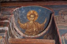 """Emanuel"" '- Dečani Monastery, Serbian Orthodox Church 14 century, Kosovo (The occupied Serbian Province) Byzantine Icons, Byzantine Art, Fresco, Italian Army, Hail Mary, Art Icon, In Ancient Times, Orthodox Icons, Art History"