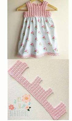 Orgu çocuk elbisesi Vestido de crochet y tela, canesu a ganchillo y faldón de tela.