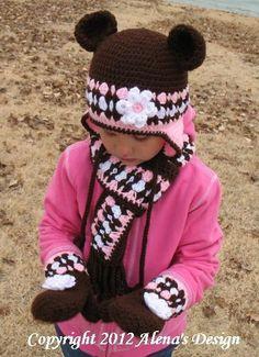 Items similar to Crocheted Girl Hat Set Size years Ear Flap Hat Scarf Mittens Winter Set Brown Pink Gloves Mittens Girls Crochet Bear Hat OOAK Christmas on Etsy Crochet Bear Hat, Crochet Baby Mittens, Crochet Scarves, Knit Crochet, Crochet Girls, Love Crochet, Crochet For Kids, Crochet Patron, Bandeau