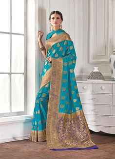 Find women fashion sarees online in various styles. Buy this faux chiffon and georgette embroidered and patch border work classic saree for festival and party.