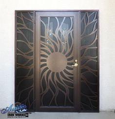 Custom cnc plasma cut iron screen sunburst security door
