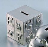 Pewter baby bank - alphabet block