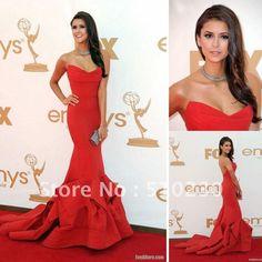 vestido rojo, estraple, corte sirena