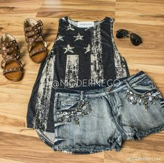Feeling a bit Patriotic with this outfit. Get yours today at Modern Ego! Get 10% off your first purchase when you register with this link http://modernego.com?r=3529  #women #fashion #clothing #shorts #tanktop #sandals