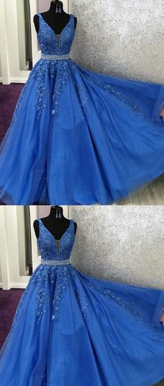 V Neck Royal Blue Lace Graduation senior Prom dresses Long with Beading Belt sold by Sweet Lady. Shop more products from Sweet Lady on Storenvy, the home of independent small businesses all over the world. Blue Lace Prom Dress, Royal Blue Prom Dresses, Beaded Prom Dress, Formal Evening Dresses, Dress Formal, Dress Prom, Sweet 16 Dresses Blue, Halter Top Prom Dresses, Fancy Dress