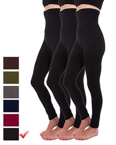 6ed10de227ffc Homma 3-Pack High Waist Compression Fleece Lined Thick Brushed Leggings  Thights (S/