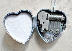 Music box locket,  heart shaped locket with music box inside, in silver with a mermaid and seahorse. - Char's Favorite Things - 5