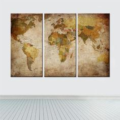 3 Piece Frameless World Map Canvas Wall Paintings  Canvases home decor ideas wall products art panels designs art beautiful living rooms art sets gift decoration ideas awesome cool unique cheap inspirational backgrounds for sale buy online shops website links AuhaShop.com