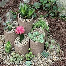 How to Build and Plant a Succulent Garden - these planters would be good for just about any plant and add character to a garden :)
