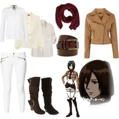 Casual cosplay of Mikasa Ackerman (from Attack on Titan or Shingeki no Kyojin anime series)-- character inspired outfit