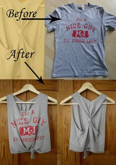 13 DIY Clothing Refashion Ideas with Picture Instructions (Diy Ropa Camisetas) Diy Clothes Hacks, Diy Clothes Refashion, Diy Clothes Videos, Clothing Hacks, Diy Hacks, Clothing Ideas, Greek Clothing, Clothing Apparel, Refashioned Clothes