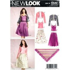 New Look 6532 Evening Skirt Top Shawl & Jacket Pattern Size 8 to 18