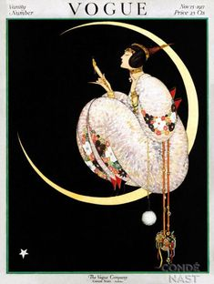 Vogue US Cover - November 1917 - Fashion illustration by George Wolfe Plank - Emphatically chic in a kimono-style gown, a woman crouches inside the curve of a crescent moon and admires one of her magnificent gold accessories - Condé Nast Publications