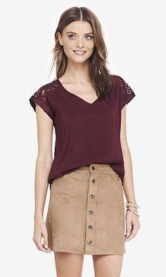 mesh lace shoulder silky v-neck blouse