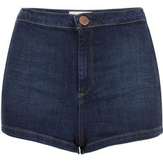 TOPSHOP MOTO High Waist 50s Hotpants ($56) ❤ liked on Polyvore featuring shorts, bottoms, pants, short, indigo, high waisted hot shorts, short shorts, hot pants, high waisted hot pants and cotton shorts