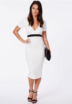 Verda Wrap Over Monochrome Contrast Midi Dress - Midi Dresses - Missguided