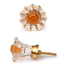 Clear Glass Flower Cabinet Knob with Orange Diamond-Cut Center