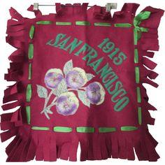 Antique Souvenir Pillow 1915 San Francisco in Magenta Felt and Purple Pansies